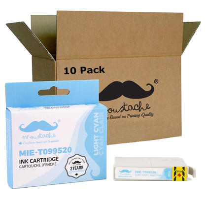 Compatible Epson 99 T099520 cartouche dencre cyan clair - Moustache@ - 10/paquet