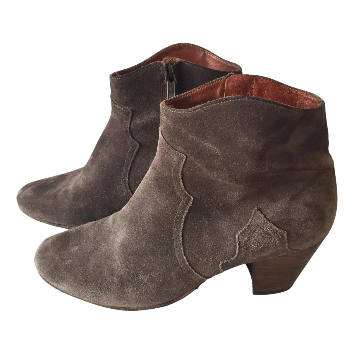 Isabel Marant - Boots Dicker pour femme en suede - marron