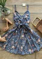 Floral Ruffled Tie Spaghetti Strap Mini Dress - Blue