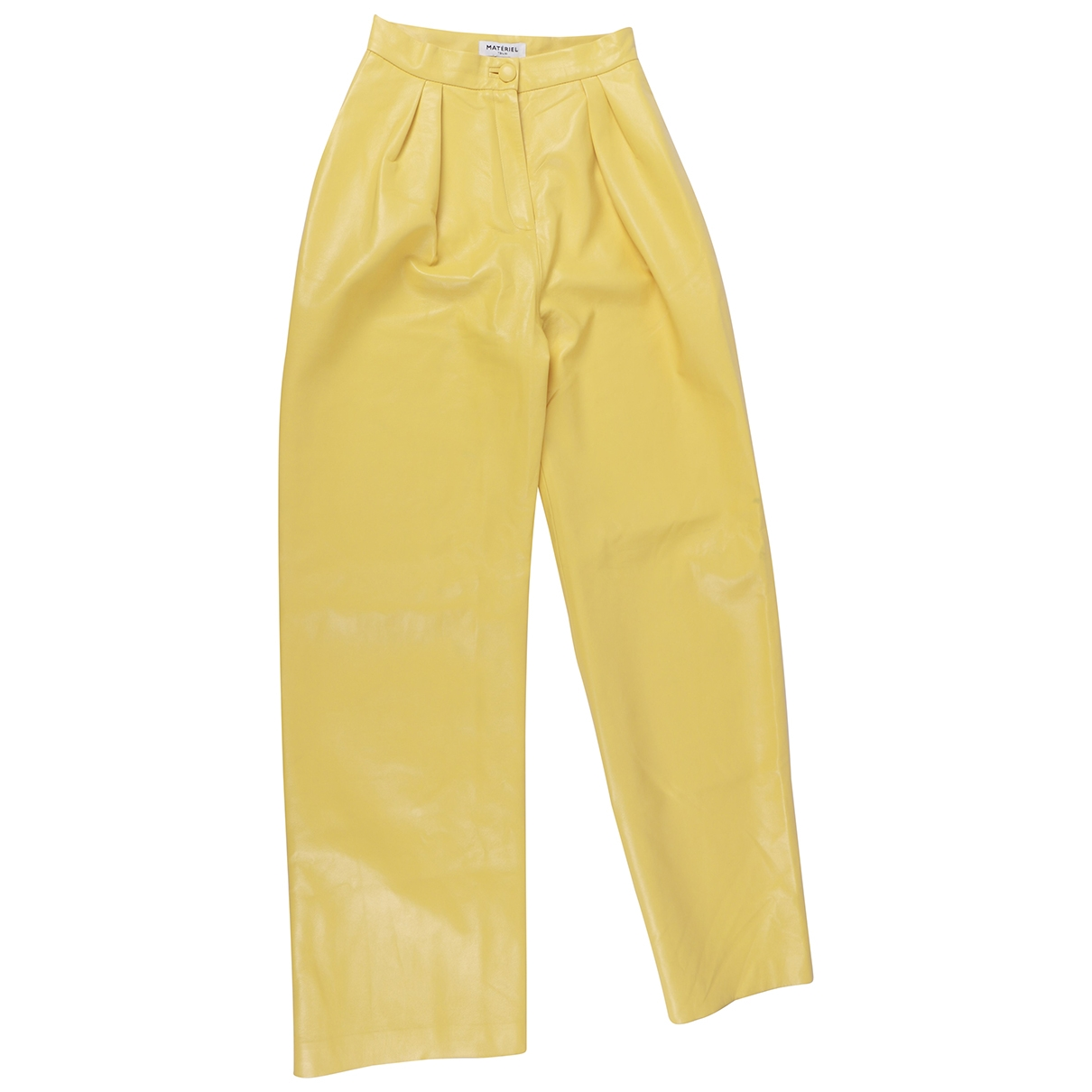 Matériel \N Yellow Wool Trousers for Women M International