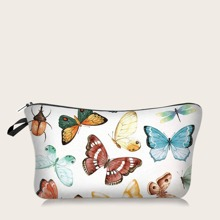 Colorful Butterfly Print Makeup Bag
