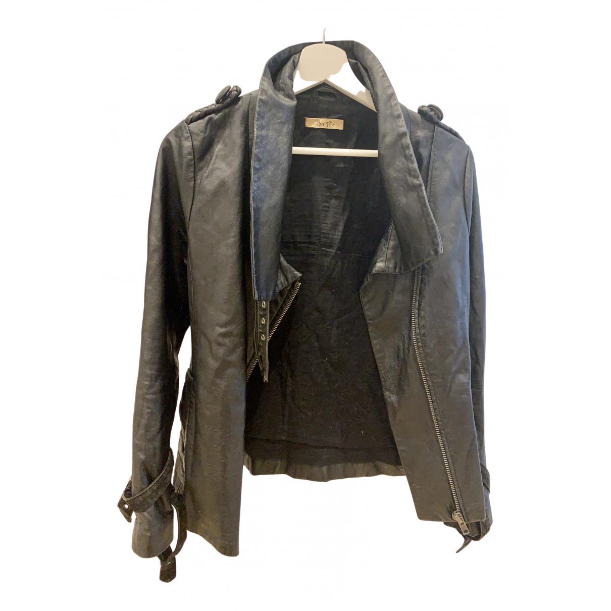 Bel Air - Veste   pour femme en cuir - noir