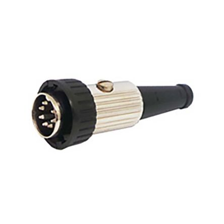 Deltron 7 Pole Din Plug Plug, DIN 41524, DIN 45322, DIN 45326, DIN 45327, DIN 45329, 2A, 34 V ac/dc, Locking Ring