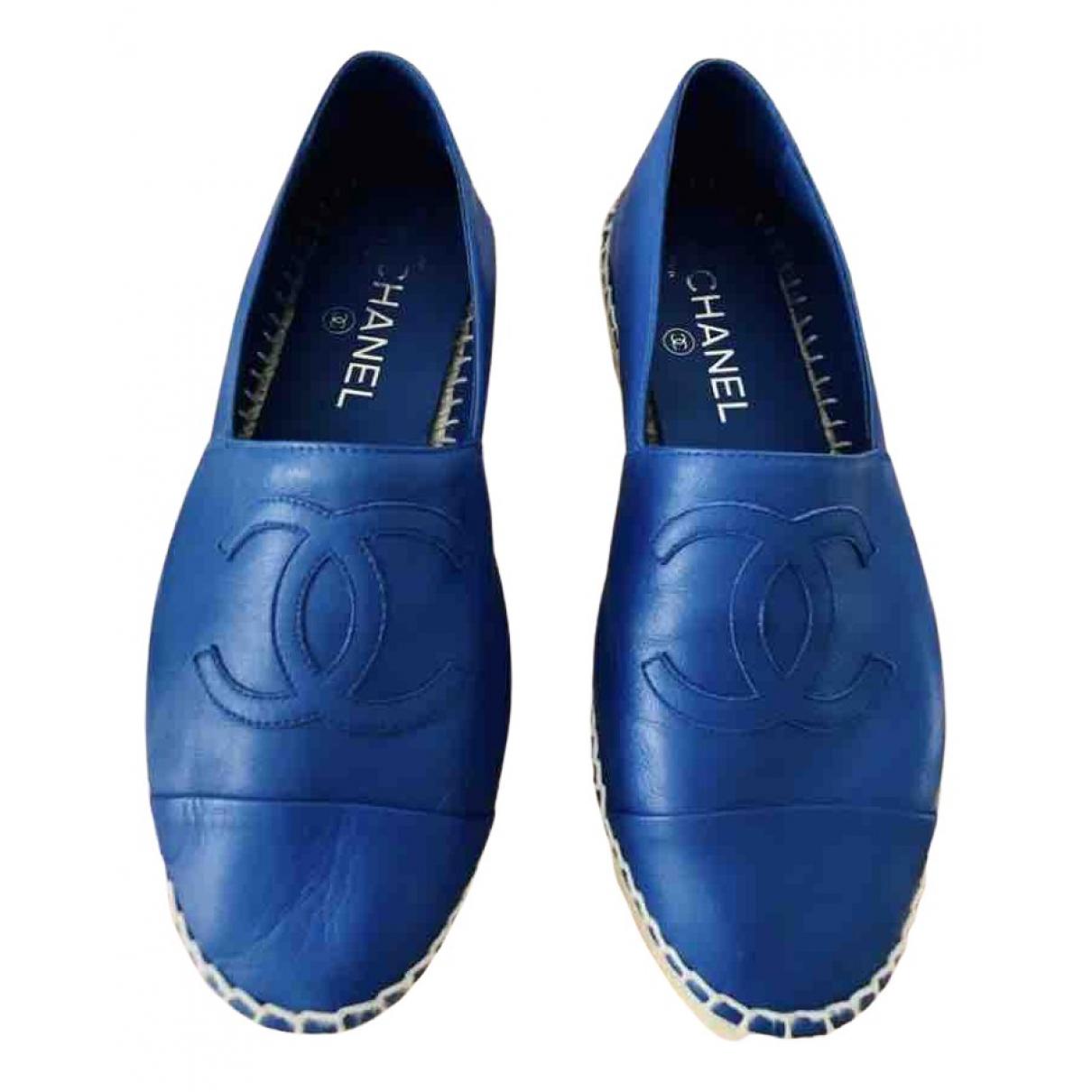 Chanel - Espadrilles   pour femme en cuir - bleu