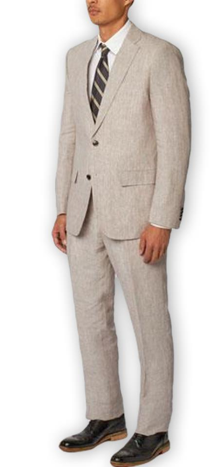 Men's  Notch Lapel 100% Linen Double Vent Two Piece Gray Suit