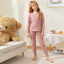 Girls Patched Rib-knit PJ Set