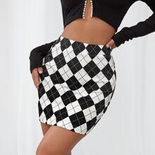 Falda ajustada con estampado geometrico