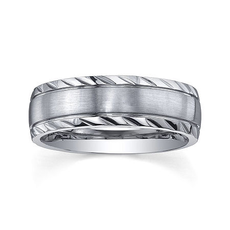 Personalized Mens 7mm Diamond-Cut Stainless Steel Wedding Band, 9 1/2 , No Color Family