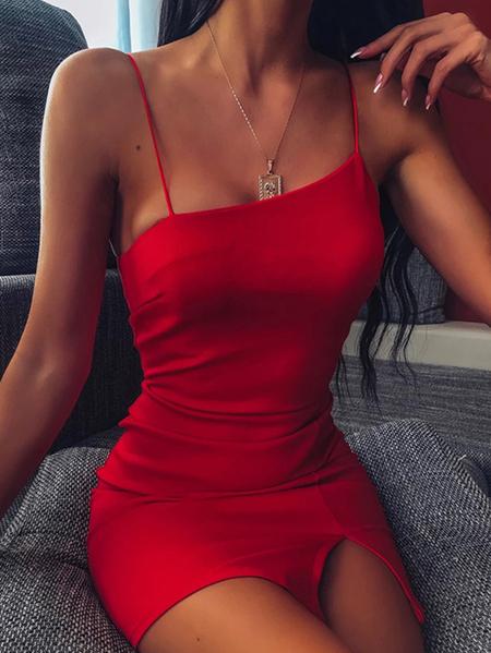 Yoins Sexy Spaghetti Backless design Sleeveless Mini Dress