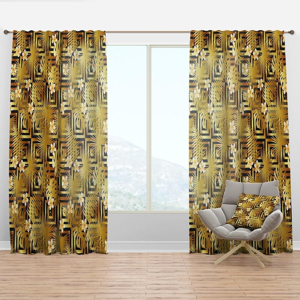 Designart 'Modern gold luxury pattern' Mid-Century Modern Curtain Panel (50 in. wide x 84 in. high - 1 Panel)