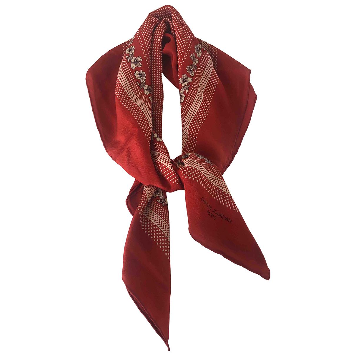 Charles Jourdan - Carre   pour femme en soie - rouge