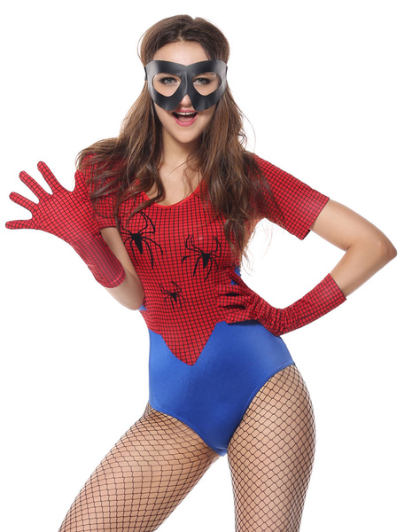 Milanoo Spiderman Costume Halloween Women Red Sexy Jumpsuit Outfit 3 Pieces