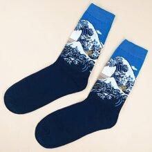 Men Sea Wave Pattern Socks