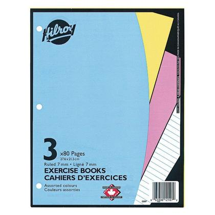 Hilroy® Ruled Exercise Book, 3 Pack, 10-7/8 X 8-3/8, 80 Page