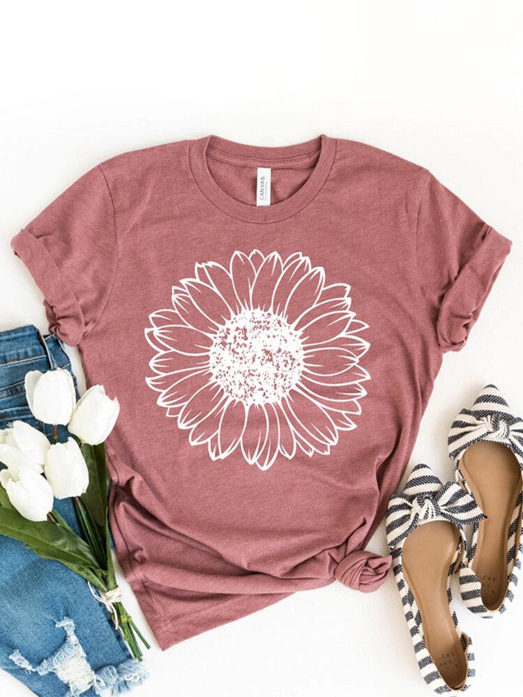 Flower Print Short Sleeve O-neck Casual T-shirt For Women