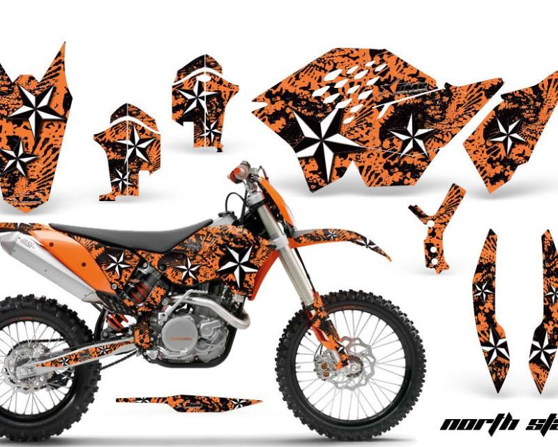 AMR Racing Dirt Bike Graphics Kit Decal Wrap For KTM SX/XCR-W/EXC/XC/XC-W/XCF-W 2007-2011áNORTHSTAR ORANGE