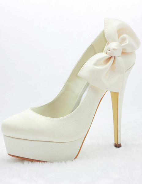Milanoo Charming Champagne Satin Bow Bridal High Heel Shoes