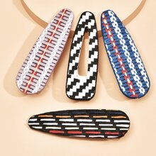 4 Stuecke Haarspangen mit Streifen Muster