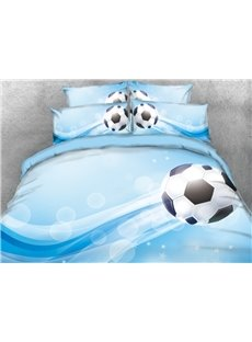 Vivilinen Soccer Printed 4-Piece Blue 3D Bedding Sets/Duvet Covers