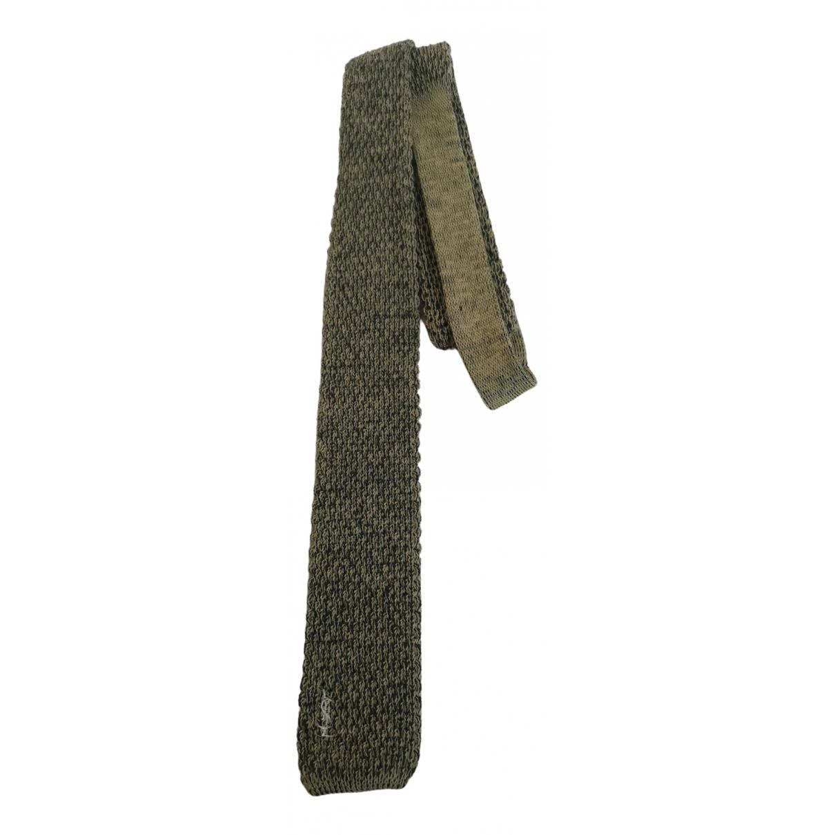 Yves Saint Laurent \N Krawatten in  Gruen Wolle