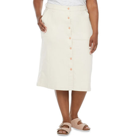 a.n.a-Plus Women Utility Midi Skirt, 18w , Beige