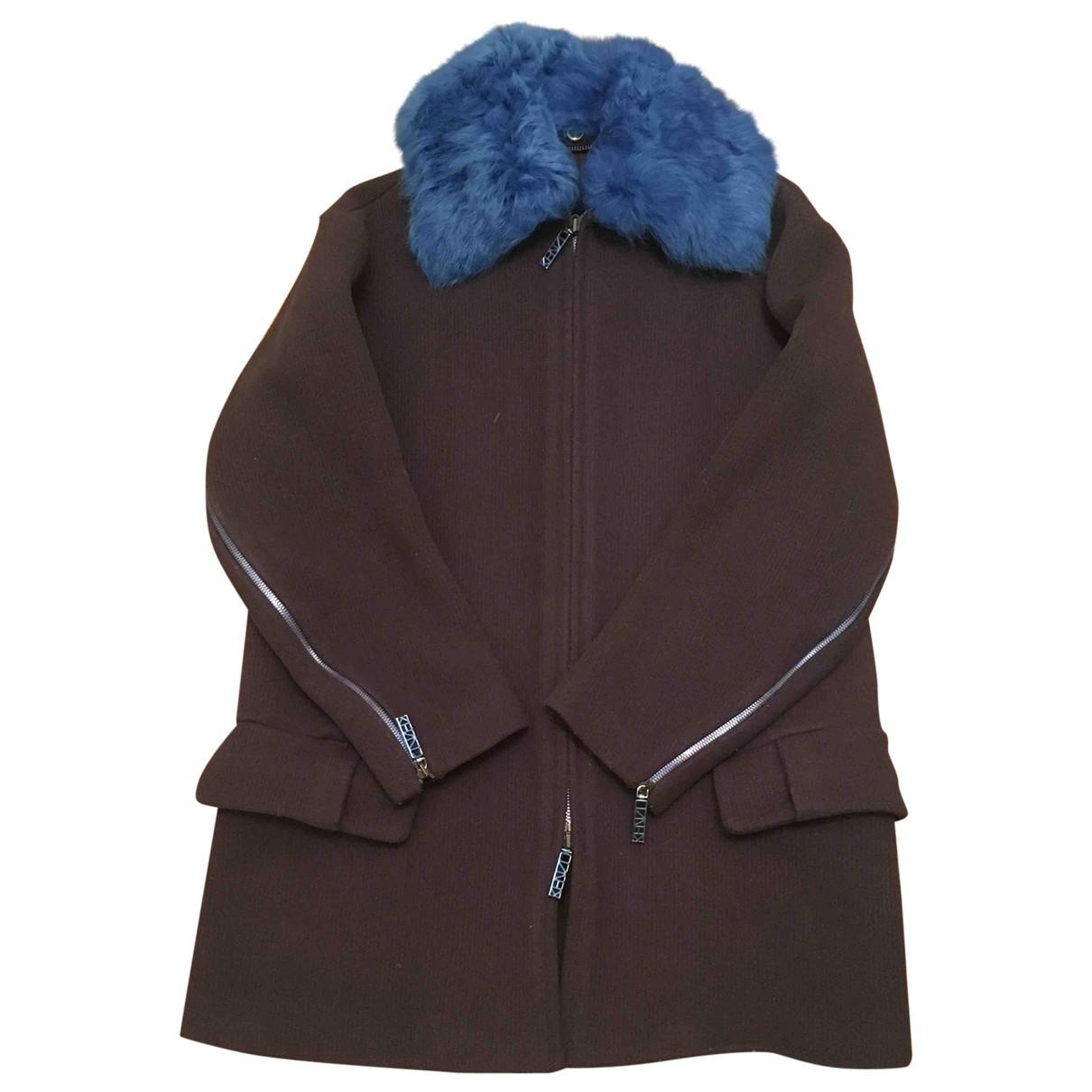 Kenzo - Manteau   pour femme en laine - bleu