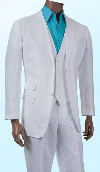 Alberto Nardoni Collection 2 Button Vested Suit Available in White