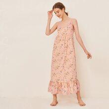 Lace Trim Floral Print Smock Nightdress