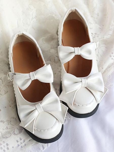 Milanoo Sweet Lolita Pump Bow Frill White Lolita Shoes