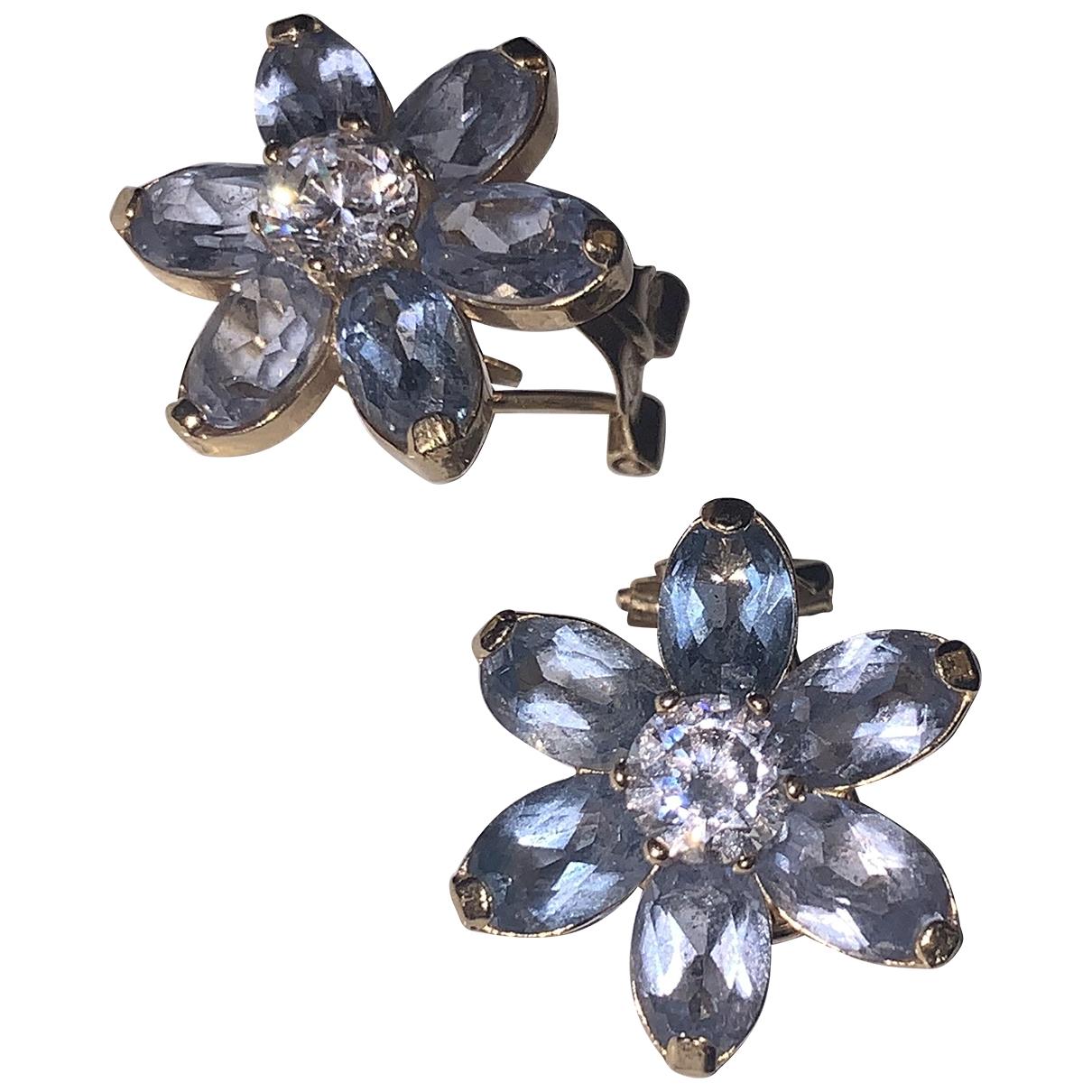 Non Signe / Unsigned Motifs Floraux OhrRing in  Blau Gelbgold