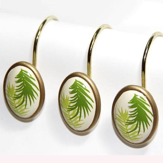 Graceful European Palm Leaf Print 12-piece Shower Curtain Hooks