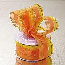 Polyester Sheer 1-1/2X10 Yards Orange/Yellow Lines Satin/Shr Wrd Ribbon Polyethyleneester - Embellishments & Trims Width: 1 1/2 Length: 10 yd by Paper