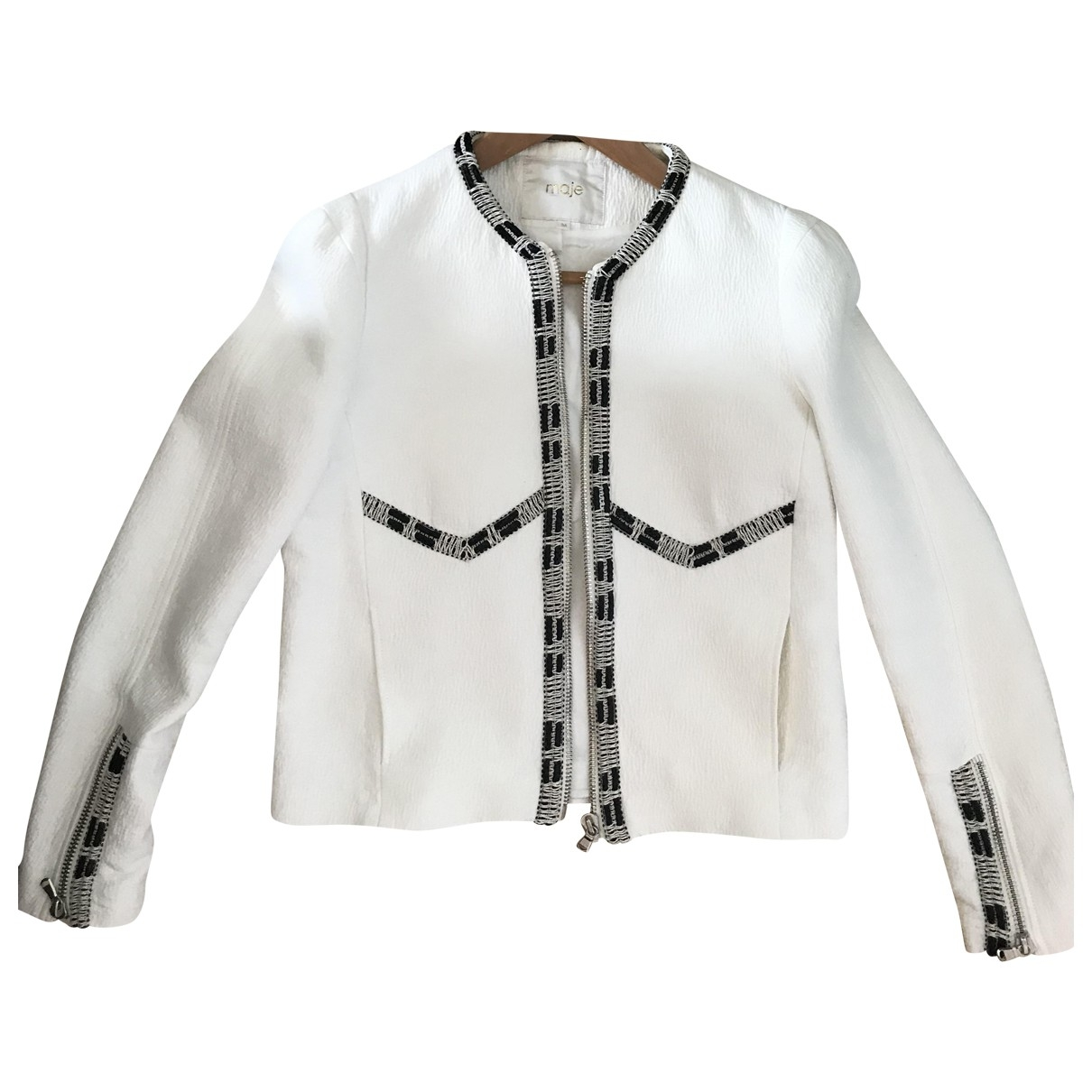 Maje \N White Cotton Leather jacket for Women 36 FR