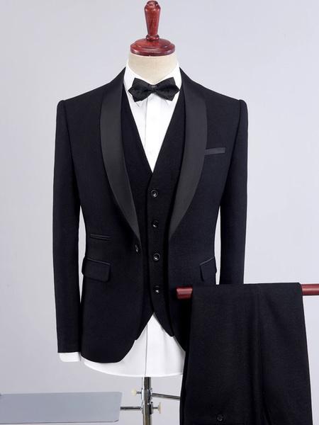 Milanoo Wedding Suits Men Shawl Lapel Groom Tuxedo Deep Purple Formal Wear 3 Piece Set