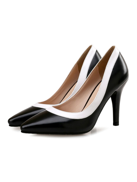 Milanoo Women\s Pumps White Slip-On Pointed Toe Color Block Stiletto Heel Classic Low-Tops Black