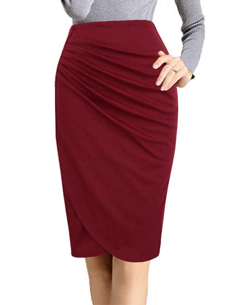 Ericdress High-Waist Pleated Bodycon Women's Skirt