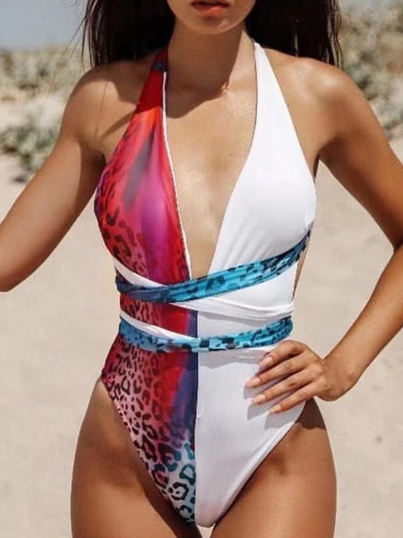 Ericdress Sexy One Piece Leopard Color Block Swimwear