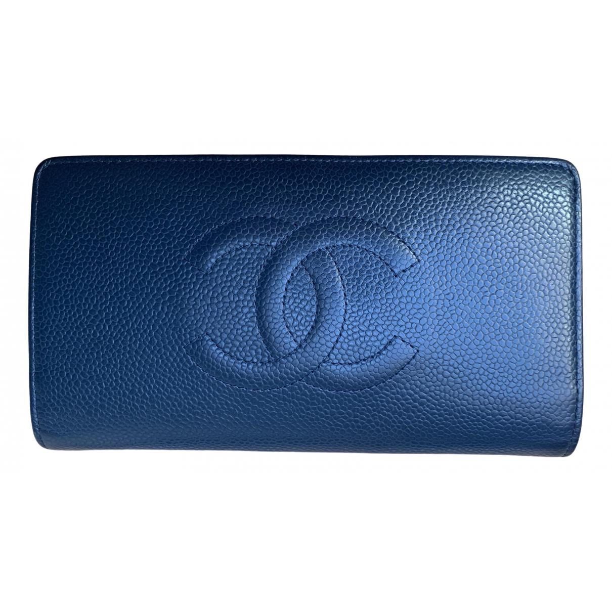 Chanel - Portefeuille   pour femme en cuir - marine