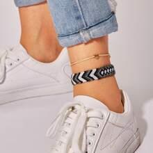 Heart Detail & Woven Anklet 2pcs