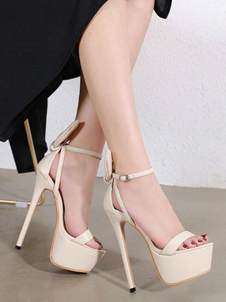 Milanoo Heel Sandals Sandals Black Stiletto Heel Open Toe PU Leather