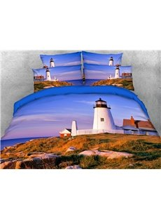 A Lighthouse In The Quiet Town At Dawn 3D Printed 4-Piece Polyester Bedding Sets/Duvet Covers