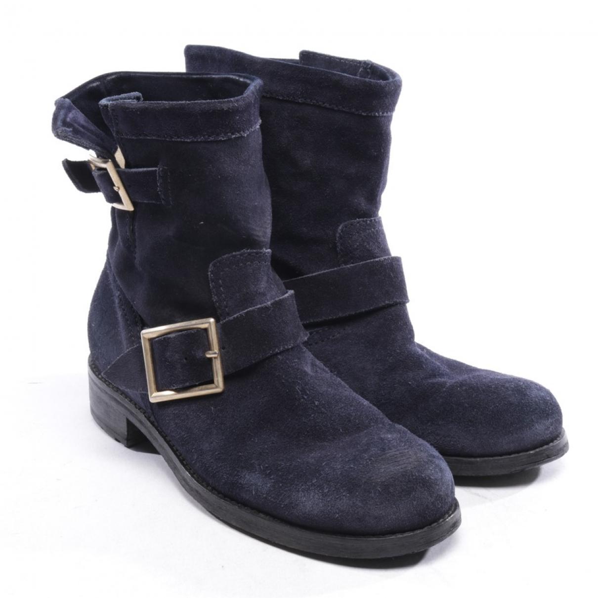 Jimmy Choo - Boots   pour femme en suede - bleu