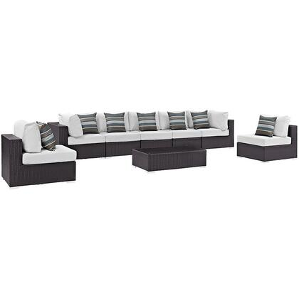 Convene Collection EEI-2370-EXP-WHI-SET 8-Piece Outdoor Patio Sectional Set with 5 Armless Chairs  2 Corner Sections and Coffee Table in Espresso and