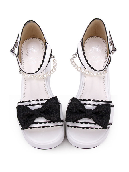 Milanoo Sweet Lolita Sandals Bow Pearl PU Pink Lolita Flatform Shoes