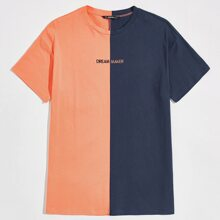 Men Drop Shoulder Embroidery Letter Spliced Tee