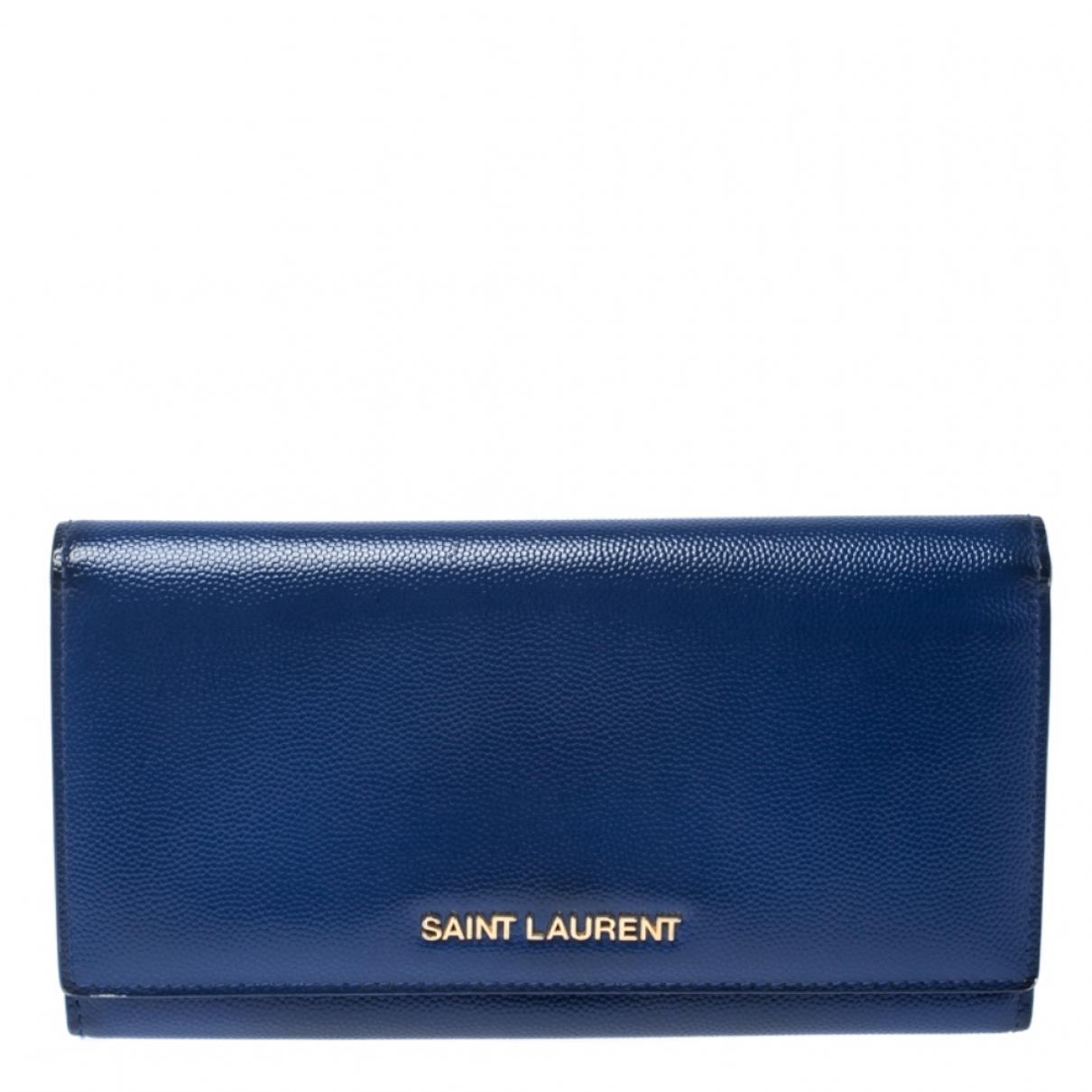 Saint Laurent - Portefeuille   pour femme en cuir - bleu