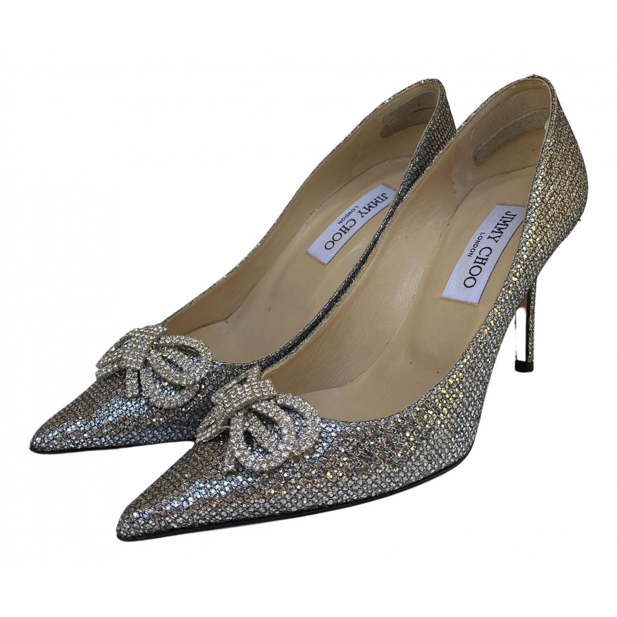 Jimmy Choo Romy Silver Glitter Heels for Women 37 EU