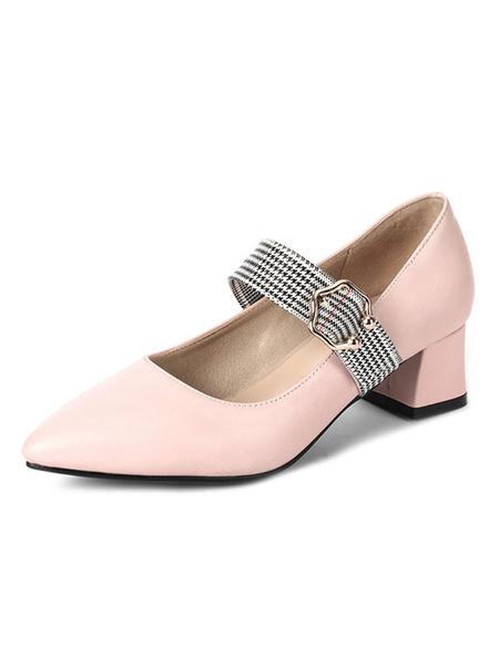 Milanoo Tacones de bloque de mujer Punta puntiaguda Hebilla con detalle Slip On Pumps Tallas grandes Zapatos Mary Jane