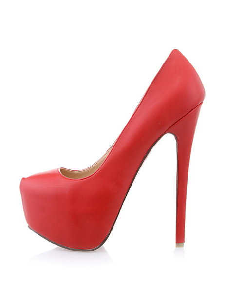 Milanoo Zapatos de PU rojo