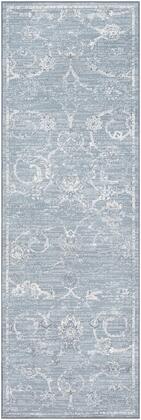 Contempo CPO-3725 311 x 57 Rectangle Traditional Rug in Denim  Pale Blue  Light Gray